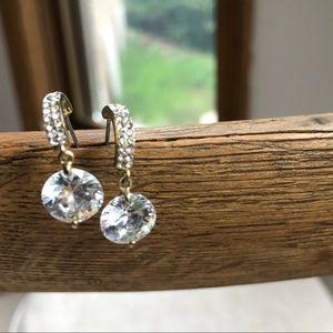 Classic drop dangle earring crystal faux diamond